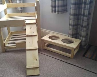 Handmade dog bunk bed and bowl stand