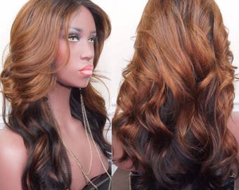 "100% Human Hair Wig | 22"" Peruvian Straight Lace Closure Custom Wig"