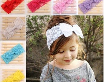 Baby Girls Lace Bow Headband Hairband