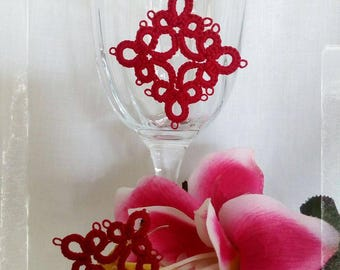 Tatting lace earrings Red