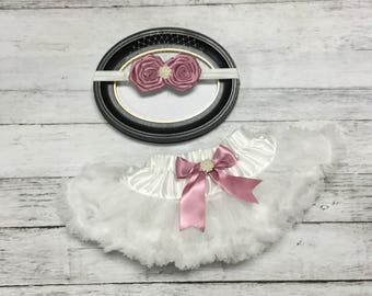 Off White  Dusty Rose Vintage Pearl Pettiskirt & Rosette Headband 2 Piece Set Photo Prop Set  Picture Outfit 0-9m