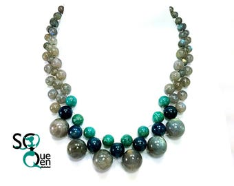 Natural gems - Labradorite, Amazonite, and Apatite necklace