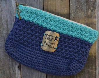 Navy/Teal Star Stitch Crochet Pouch