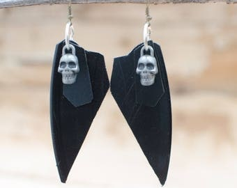 Vinyl Record Jewelry, Vinyl Earrings, Skull Earrings, Skul Jewelry, Wings, Wing Earrings, Wing Jewelry, Upcycled Jewelry, by Up From Bones.