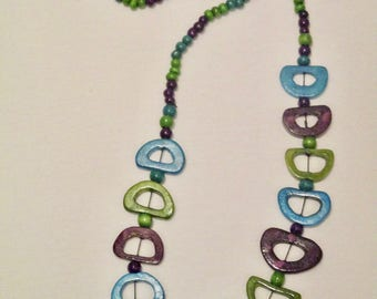 Turquoise Purple Green Wooden Necklace
