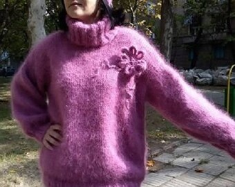 Hand knitted longhair mohair sweater