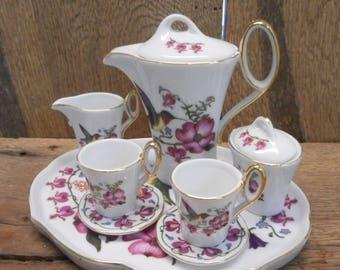 Tea Pot , Tea Cup and more Hummingbird Doll Sized Ceramic 10 Piece Tea Set