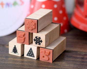 X'mas Rubber Stamps - Christmas Holiday - Vintage Wooden Diary Stamp Set - 5pcs/Set- Free Ink Pad