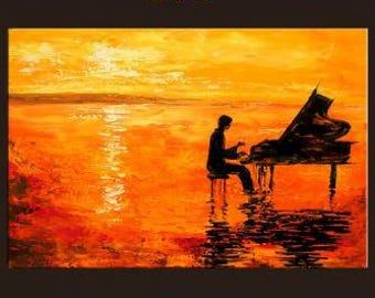Sunset piano painting acrylic canvas
