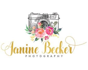 Watercolor logo design, photography logo, gold foil logo, floral logo design, watercolor flowers, branding template, photo camera, premade