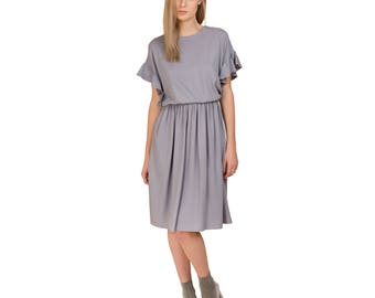 Gray dress with wing sleeves