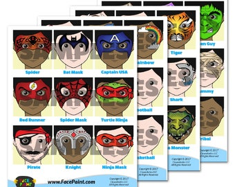 Face Painting Design Menu For Boys - Downloadable Images (4 PNG Files)