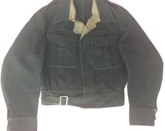 Original 1940s Men's Battledress Blouse Jacket CC41 Era 1930s Chore Workwear