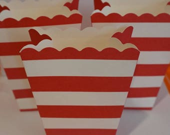 8 Red and White Stripe Popcorn Boxes