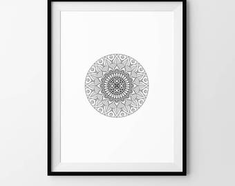 Mandala, Minimalist, Geometric, Pattern, Digital Download, Art, Print, Poster, Black and White, Modern, Contemporary, Circle, Circular