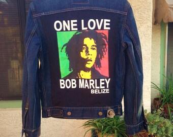Bob Marley Up-cycled Denim Jacket