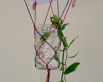 Rainbow Macrame plant rooter + crystals