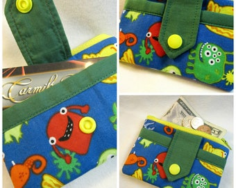 Monster zip wallet with green accents Free Shipping in US