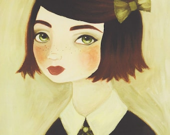 Girl Nursery Art, Girl Print, Portrait Painting, Vintage Style Wall Art, Redhead Print