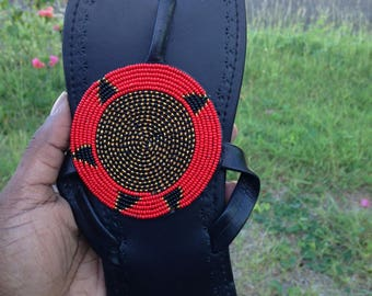 Circle beaded leather slippers