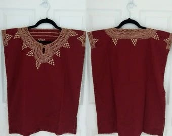Mexican Hand Embroidered Blouse (Marsala)