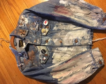 Hand-painted vintage denim jacket