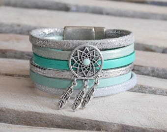 Cuff Bracelet in silver, green and Mint green leather (BR74)