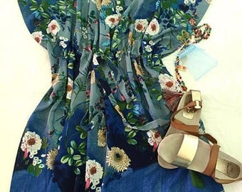 "Oriental Crepe ""Spring Flowers on Blue"" Knee Length Dress by Kaft+Kim"
