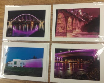 4-pack of Professional Photography blank Cards, Purple for Prince, Paisley Park, Minneapolis, Minnesota