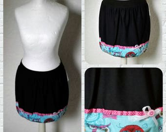 Balloon skirt black pink owls turquoise