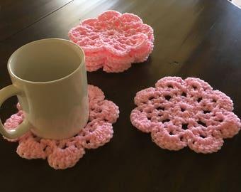 Pink Crochet Flower Coasters