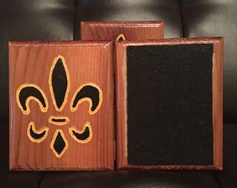 Hand Carved Wooden Coaster Set