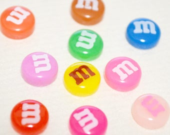 M&M'S Candy Chocolate Style Mini Size 8mm Nail Parts (20 pieces)