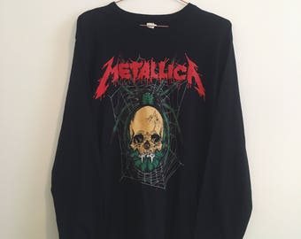 Rare Long Sleeve Metallica Spider Skull Band T-Shirt L