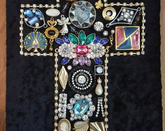 Handmade jewelry art vintage-modern jewelry rhinestones crystals one-of-a-kind art
