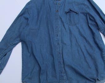 Vintage 90s Casual Newport News Blue Jean Button Down. Women's Size 16