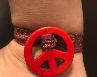 Red Peace Sign Stretch Bracelet