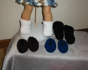 "Crocheted Shoes/ Boots/American Girl/18"" Doll"