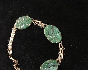 Vintage jade gold chain bracelet