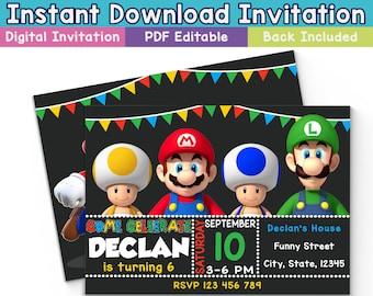 SALE: Mario Bros Digital Invitation, Mario Bros Instant Download Invitation, Mario Bros Editable Invitation, Mario Bros Birthday, Mario card