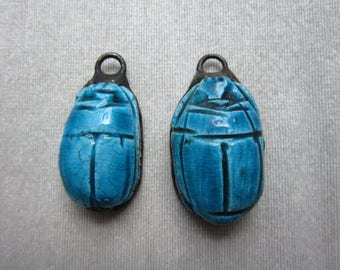 Hand Soldered Carved Egyptian Scarabs