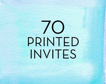 70, 5x7 Print Flat Single Sided Invitations with White Envelopes *Professionally Printed
