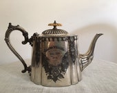 Sheffield teapot with dedication for silver wedding