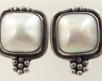 Artist Signed Sterling Silver Pierced Earrings