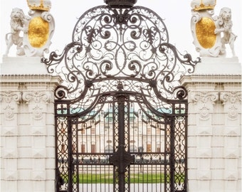 Vienna Photography, Belevedere Palace Ornate Iron Gate, Canvas Gallery Wrap, 16x16 or 20x20 Large Wall Art
