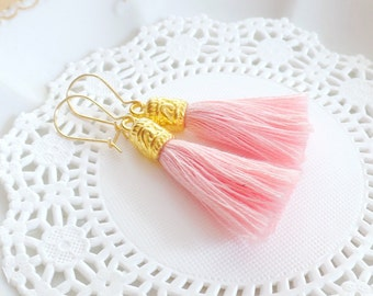 Pink Tassel Earrings, Tassel Earrings, Cotton Tassels, Boho Tassel Earrings, Fringe Earrings, Bohemian Earrings, Tassel Jewelry