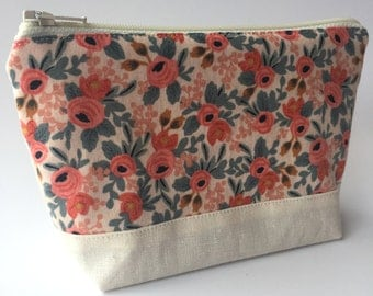 Rifle Les Fleurs Linen Make Up Zipper Pouch