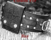 CUSTOM for Ray - Rustic Leather Wrist Wallet Cuff with Buckle - World Map - Black with Silver