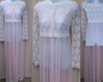 Vintage 60s Pink Nylon chiffon with White Lace Wide Ballet Neck Bodice by Virginia Wallace / Sz Sml - 34