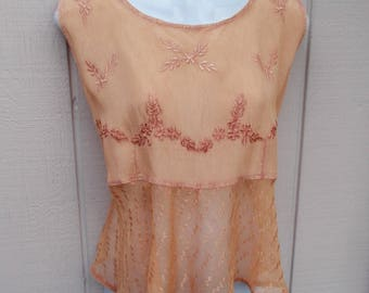 Vintage 90s Peach Embroidered Crinkle gauze India Top / Sheer Peplum Peasant Blouse / Festival Boho Hippie // Lge - XL